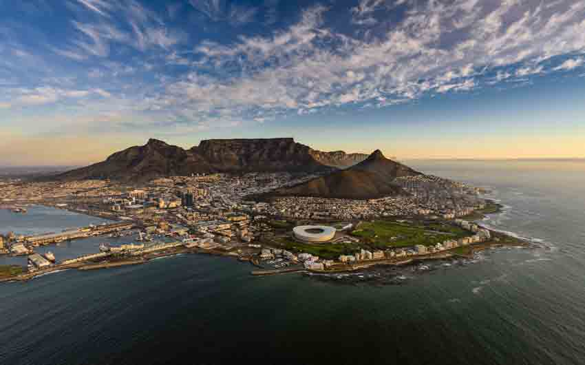 Cape Town and the 12 Apostles from above in South Africa