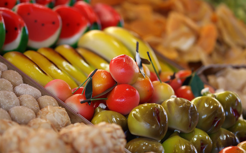 Typical Sicilian candied fruit and marzipan