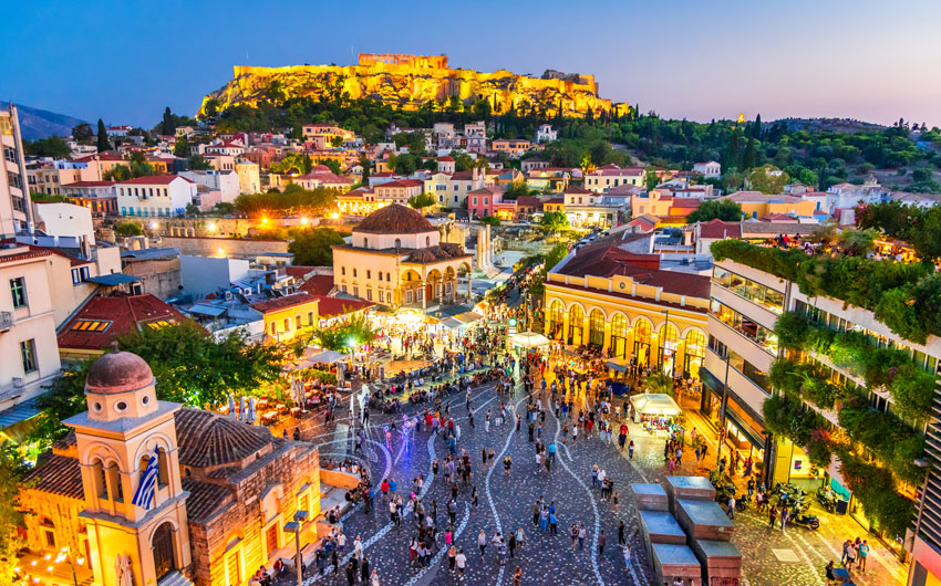 Monastiraki Square and Acropolis, Athens