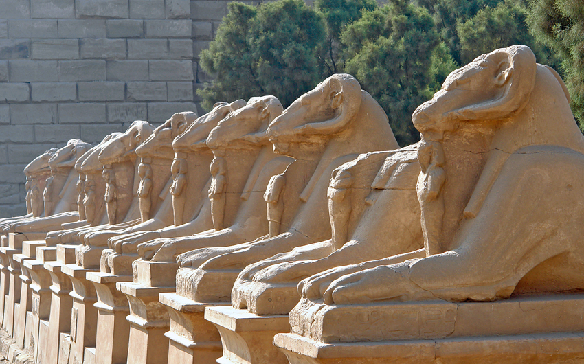 Avenue of the ram-headed Sphinxes in Karnak Temple, Luxor