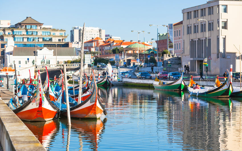 Gondolas at canal, Aveiro