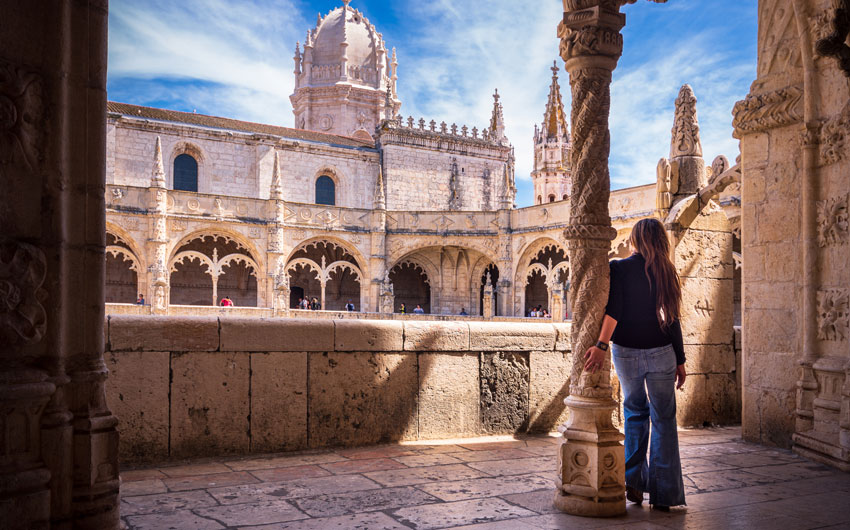 cloisters of Jeronimos Monastery in Lisbon