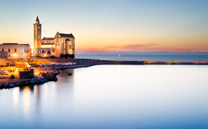 A view of a cathedral in Trani