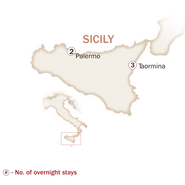 Italy Map  for UNFORGETTABLE SICILY