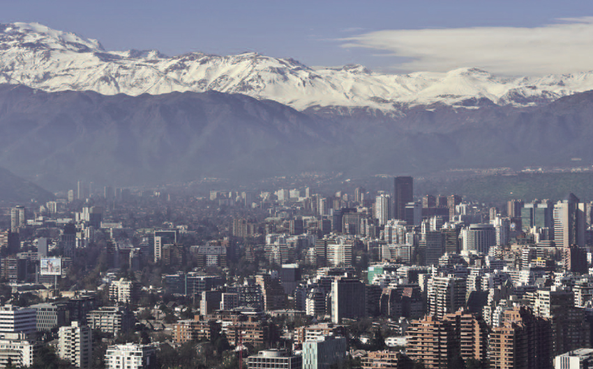 Panoramic View of Santiago, Chile with snow covered Andes in the background