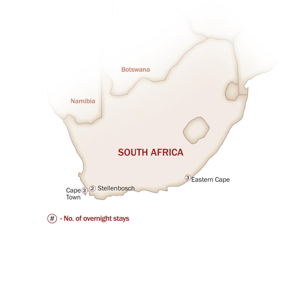 Eastern & Southern Africa Map  for MEMORABLE FOOD & WINES OF SOUTH AFRICA