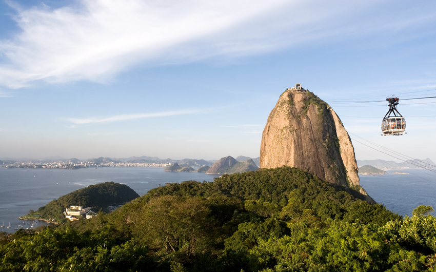 Rio de Janeiro, Sugar Loaf, famous landmark. Cable car, atlantic forest and Guanabara Bay. Brazil