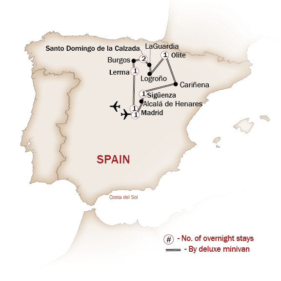 Spain Map  for CASTLES & PALACES OF THE SPANISH WINE REGION