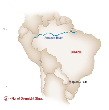 Brazil Map  for IGUASSU FALLS GETAWAY