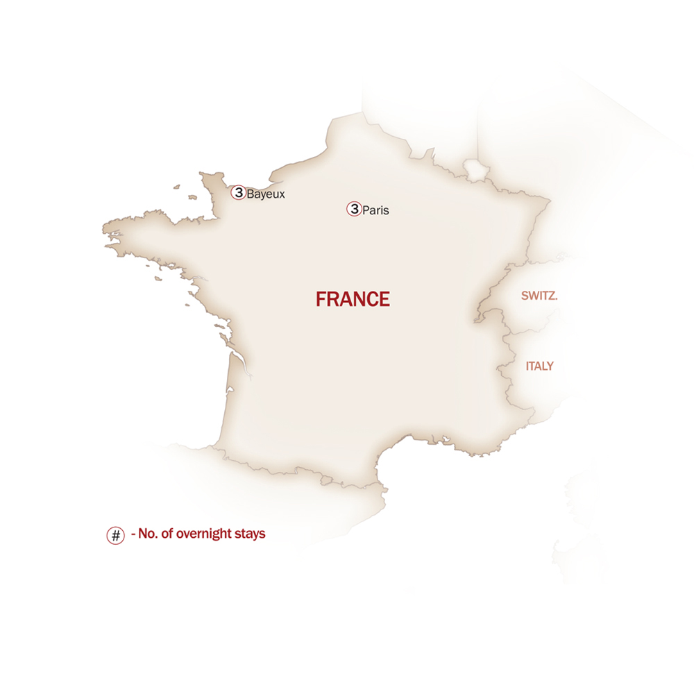 France Map  for DISCOVER PARIS & NORMANDY