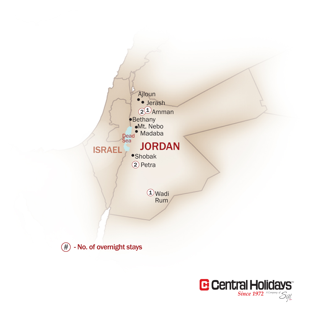 Jordan Map  for THE NABATEANS