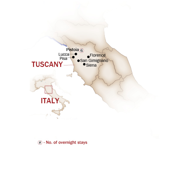 Italy Map  for ART TREASURES, FOOD AND WINES OF TUSCANY