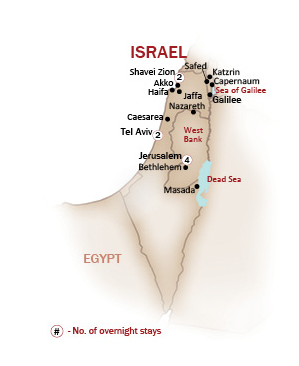 Israel Map  for ISRAEL UP CLOSE & PERSONAL