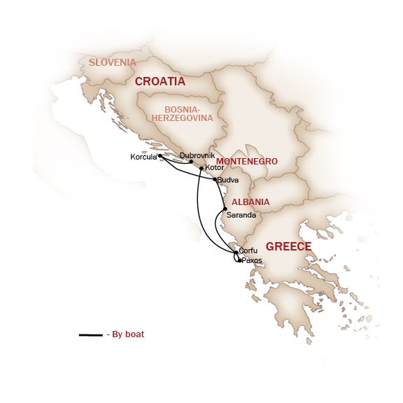 Croatia Map  for THE ADRIATIC ODYSSEY CRUISE