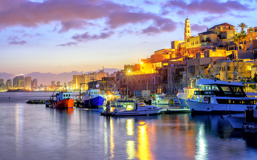 Yafo old town port on sunset, Tel Aviv