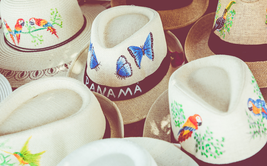 Handmade Panama Hats at the traditional outdoor market