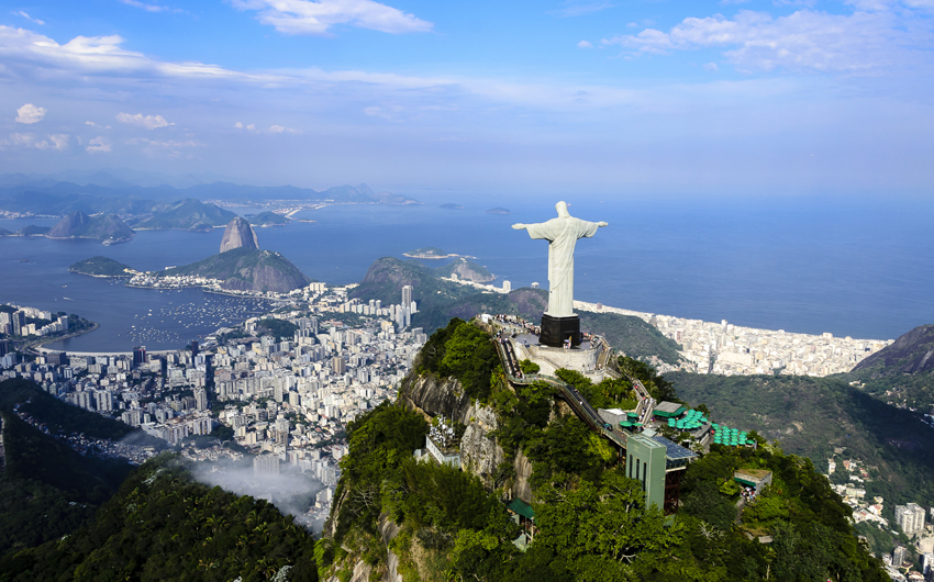 The statue of Christ the Redeemer (Cristo Redentor) at Corcovado in Rio De Janeiro in Brazil