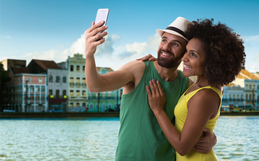 Couple taking a selfie photo in Recife