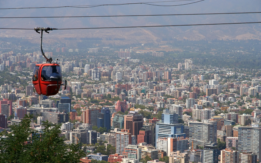 Cable car in San Cristobal hill, Santiago