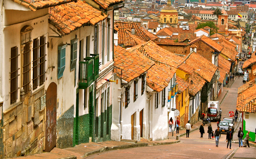 Street With Colonial Houses In The Historic District Of La Candelaria